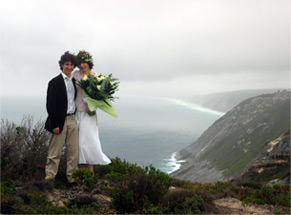 Photograph of bride and groom at Sharp Point, Albany, Western Australia